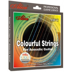 Corzi chitara acustica colorate Alice