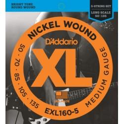 Corzi chitara bass D'ADDARIO EXL160-5 Medium Gauge