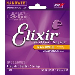Corzi chitara acustica Elixir Nanoweb extra light 010-047